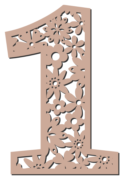 Free 1  - flower stencil. Floral letter, flower font stencil, letter font, numbers, pattern, carving, template, clipart, printable alphabet letters and numbers, DIY, homemade, back to school, bulletin board, cricut, silhouette, coloring page, vector, svg.