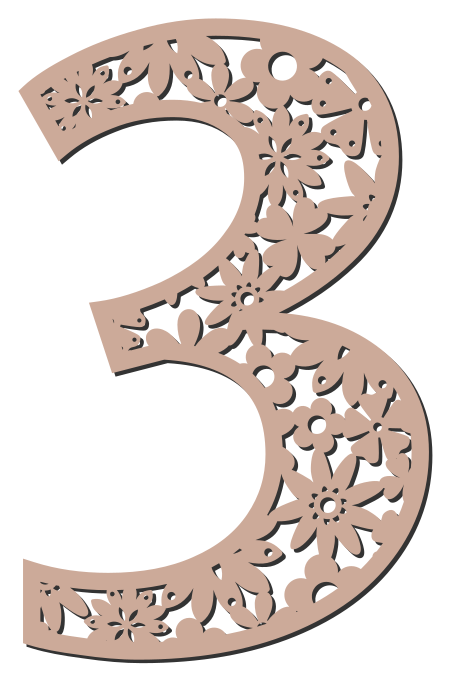 Free 3  - flower stencil. Floral letter, flower font stencil, letter font, numbers, pattern, carving, template, clipart, printable alphabet letters and numbers, DIY, homemade, back to school, bulletin board, cricut, silhouette, coloring page, vector, svg.