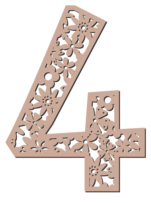 Free 4  - flower stencil. Floral letter, flower font stencil, letter font, numbers, pattern, carving, template, clipart, printable alphabet letters and numbers, DIY, homemade, back to school, bulletin board, cricut, silhouette, coloring page, vector, svg.