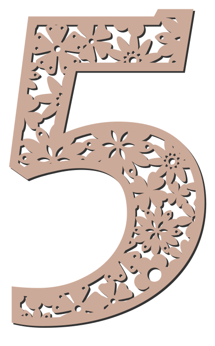 Free 5  - flower stencil. Floral letter, flower font stencil, letter font, numbers, pattern, carving, template, clipart, printable alphabet letters and numbers, DIY, homemade, back to school, bulletin board, cricut, silhouette, coloring page, vector, svg.