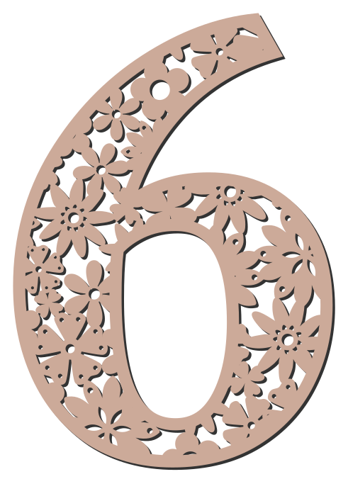 Free 6 - flower stencil. Floral letter, flower font stencil, letter font, numbers, pattern, carving, template, clipart, printable alphabet letters and numbers, DIY, homemade, back to school, bulletin board, cricut, silhouette, coloring page, vector, svg.