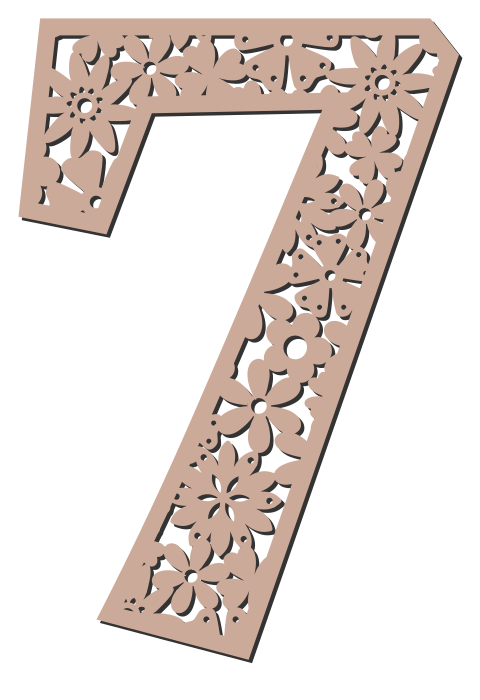 Free 7  - flower stencil. Floral letter, flower font stencil, letter font, numbers, pattern, carving, template, clipart, printable alphabet letters and numbers, DIY, homemade, back to school, bulletin board, cricut, silhouette, coloring page, vector, svg.