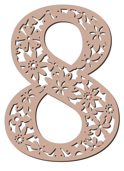 Free 8  - flower stencil. Floral letter, flower font stencil, letter font, numbers, pattern, carving, template, clipart, printable alphabet letters and numbers, DIY, homemade, back to school, bulletin board, cricut, silhouette, coloring page, vector, svg.