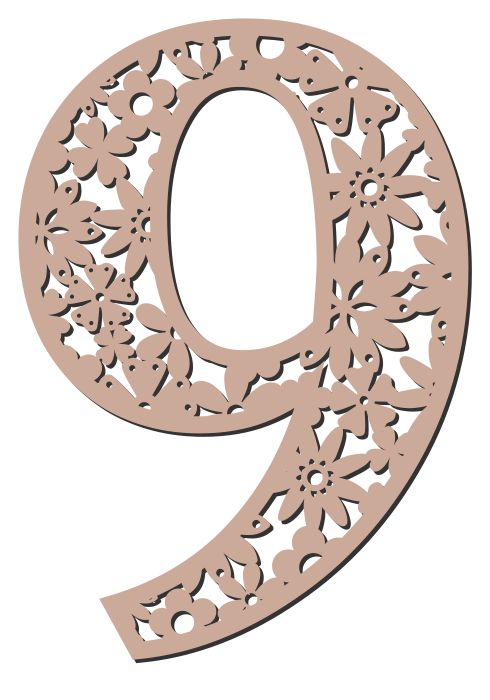 Free 9 - flower stencil. Floral letter, flower font stencil, letter font, numbers, pattern, carving, template, clipart, printable alphabet letters and numbers, DIY, homemade, back to school, bulletin board, cricut, silhouette, coloring page, vector, svg.
