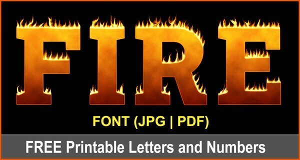 Fire Flame Clipart Font (Printable Burning Letters and Numbers)