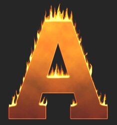 A - Flaming letter. Free printable fire font, flames, burning, roaring, clipart, downloadable, flaming letters and numbers.