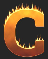 C - Flaming letter. Free printable fire font, flames, burning, roaring, clipart, downloadable, flaming letters and numbers.