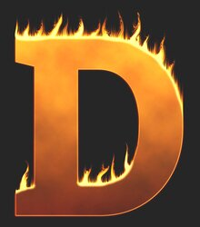D - Flaming letter. Free printable fire font, flames, burning, roaring, clipart, downloadable, flaming letters and numbers.