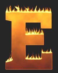E - Flaming letter. Free printable fire font, flames, burning, roaring, clipart, downloadable, flaming letters and numbers.