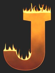 J - Flaming letter. Free printable fire font, flames, burning, roaring, clipart, downloadable, flaming letters and numbers.