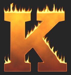 K - Flaming letter. Free printable fire font, flames, burning, roaring, clipart, downloadable, flaming letters and numbers.