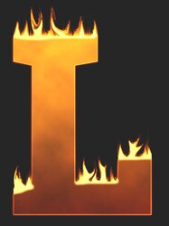L - Flaming letter. Free printable fire font, flames, burning, roaring, clipart, downloadable, flaming letters and numbers.