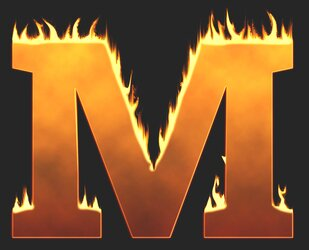 M - Flaming letter. Free printable fire font, flames, burning, roaring, clipart, downloadable, flaming letters and numbers.