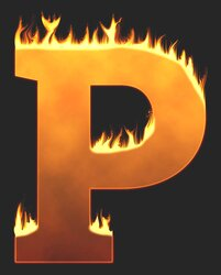 P - Flaming letter. Free printable fire font, flames, burning, roaring, clipart, downloadable, flaming letters and numbers.