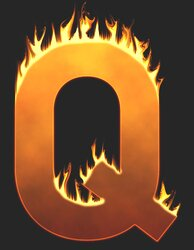 Q - Flaming letter. Free printable fire font, flames, burning, roaring, clipart, downloadable, flaming letters and numbers.