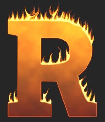 R - Flaming letter. Free printable fire font, flames, burning, roaring, clipart, downloadable, flaming letters and numbers.