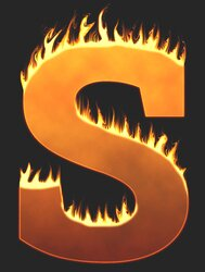 S - Flaming letter. Free printable fire font, flames, burning, roaring, clipart, downloadable, flaming letters and numbers.