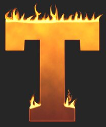 T - Flaming letter. Free printable fire font, flames, burning, roaring, clipart, downloadable, flaming letters and numbers.