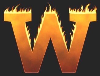 W - Flaming letter. Free printable fire font, flames, burning, roaring, clipart, downloadable, flaming letters and numbers.