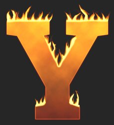 Y - Flaming letter. Free printable fire font, flames, burning, roaring, clipart, downloadable, flaming letters and numbers.