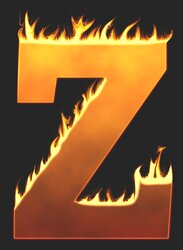Z - Flaming letter. Free printable fire font, flames, burning, roaring, clipart, downloadable, flaming letters and numbers.