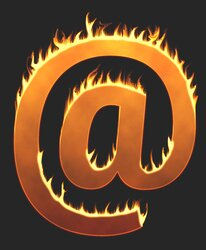 At sign flames. Free printable fire font, flames, burning, roaring, clipart, downloadable, flaming letters and numbers.