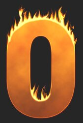 0 - Burning number. Free printable fire font, flames, burning, roaring, clipart, downloadable, flaming letters and numbers.