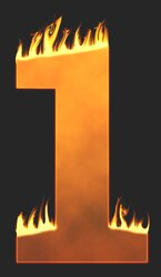 1 - Burning number. Free printable fire font, flames, burning, roaring, clipart, downloadable, flaming letters and numbers.