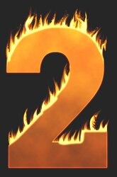 2 - Burning number. Free printable fire font, flames, burning, roaring, clipart, downloadable, flaming letters and numbers.