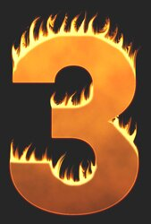 3 - Burning number. Free printable fire font, flames, burning, roaring, clipart, downloadable, flaming letters and numbers.