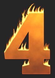 4 - Burning number. Free printable fire font, flames, burning, roaring, clipart, downloadable, flaming letters and numbers.