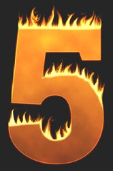 5 - Burning number. Free printable fire font, flames, burning, roaring, clipart, downloadable, flaming letters and numbers.