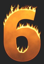 6 - Burning number. Free printable fire font, flames, burning, roaring, clipart, downloadable, flaming letters and numbers.