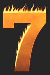 7 - Burning number. Free printable fire font, flames, burning, roaring, clipart, downloadable, flaming letters and numbers.