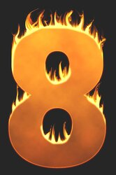 8 - Burning number. Free printable fire font, flames, burning, roaring, clipart, downloadable, flaming letters and numbers.