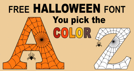 Free printable Halloween font, spooky coloring letters, numbers and alphabet stencils with spider and cob web design for DIY arts and crafts, preschool, kids, and adults.