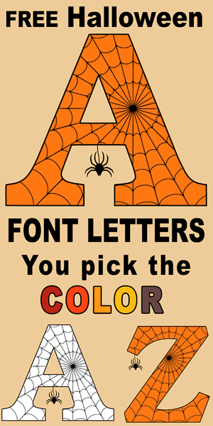 Free DIY printable Halloween font, spooky coloring letters, numbers and alphabet stencils with spider and cob web design for arts and crafts, preschool, kids, and adults.
