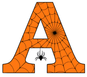 Free printable A - Halloween letter. Alphabet clipart, spooky, font, stencil coloring page sheet, template with spider and cob web pattern digital download.