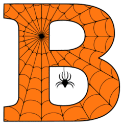 Free printable B - Halloween letter. Alphabet clipart, spooky, font, stencil coloring page sheet, template with spider and cob web pattern digital download.