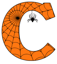 Free printable C - Halloween letter. Alphabet clipart, spooky, font, stencil coloring page sheet, template with spider and cob web pattern digital download.