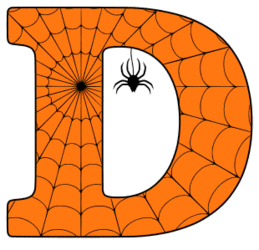 Free printable D - Halloween letter. Alphabet clipart, spooky, font, stencil coloring page sheet, template with spider and cob web pattern digital download.