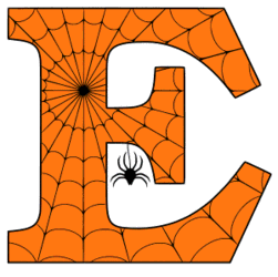 Free printable E - Halloween letter. Alphabet clipart, spooky, font, stencil coloring page sheet, template with spider and cob web pattern digital download.