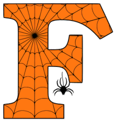 Free printable F - Halloween letter. Alphabet clipart, spooky, font, stencil coloring page sheet, template with spider and cob web pattern digital download.