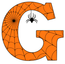 Free printable G - Halloween letter. Alphabet clipart, spooky, font, stencil coloring page sheet, template with spider and cob web pattern digital download.