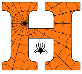 Free printable H - Halloween letter. Alphabet clipart, spooky, font, stencil coloring page sheet, template with spider and cob web pattern digital download.