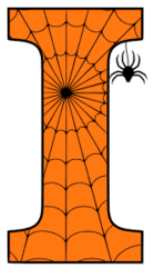 Free printable I - Halloween letter. Alphabet clipart, spooky, font, stencil coloring page sheet, template with spider and cob web pattern digital download.