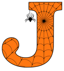 Free printable J - Halloween letter. Alphabet clipart, spooky, font, stencil coloring page sheet, template with spider and cob web pattern digital download.