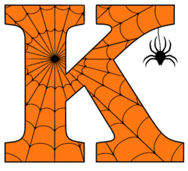 Free printable K - Halloween letter. Alphabet clipart, spooky, font, stencil coloring page sheet, template with spider and cob web pattern digital download.
