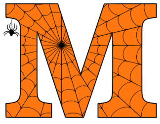 Free printable M - Halloween letter. Alphabet clipart, spooky, font, stencil coloring page sheet, template with spider and cob web pattern digital download.