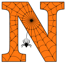 Free printable N - Halloween font. Alphabet clipart, spooky, font, stencil coloring page sheet, template with spider and cob web pattern digital download.